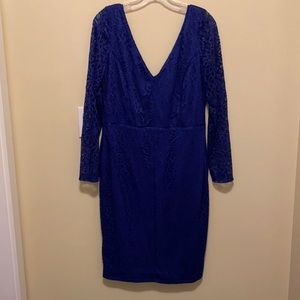 Blue lace dress with sleeves